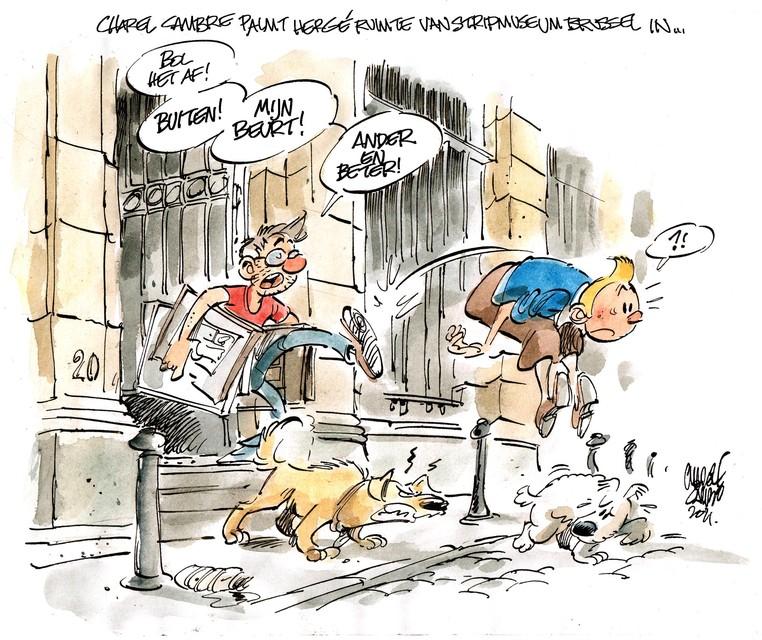 Niemand minder dan Hergé en Kuifje moesten plaats ruimen voor de expo . Charel maakte er een passende cartoon over.