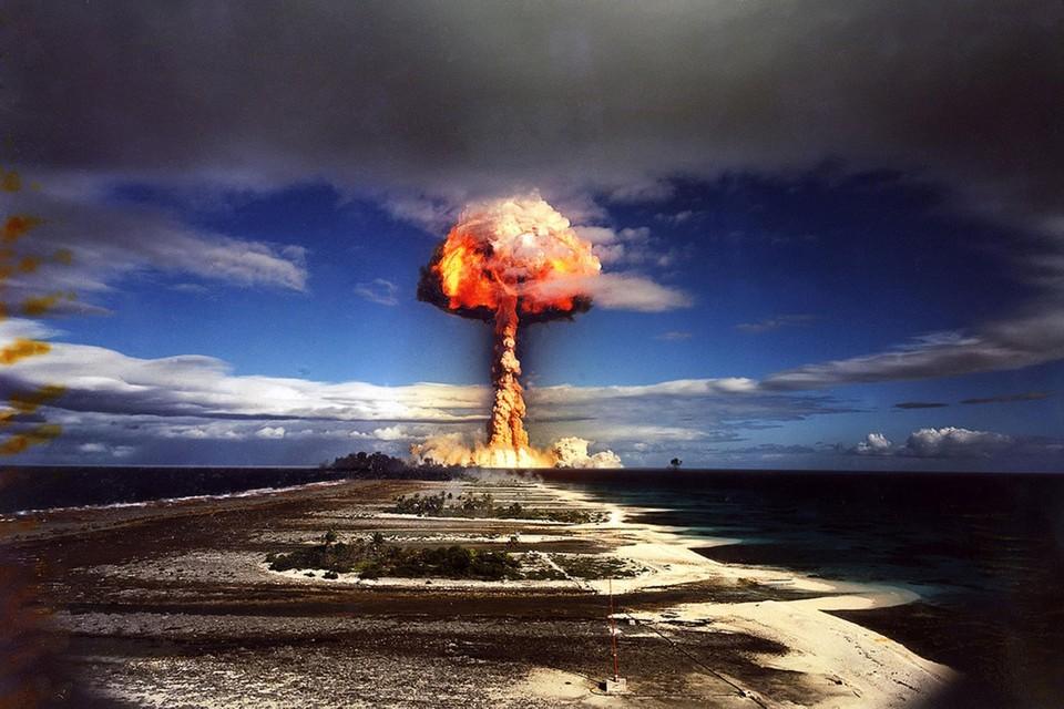 Een test met een Franse kernbom in 1970.
