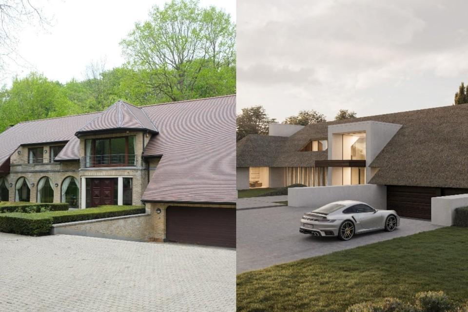 De huidige voorkant (links) en het ontwerp van de architect (rechts)
