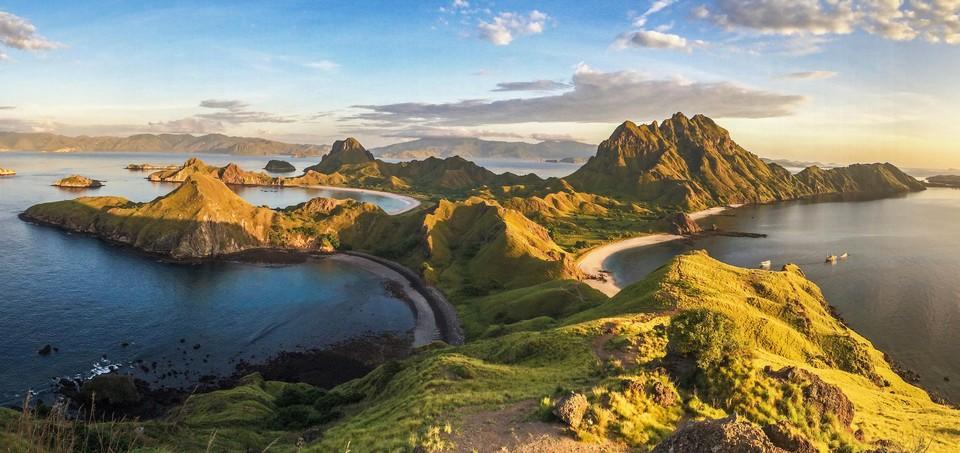 Luchtfoto van het eiland.