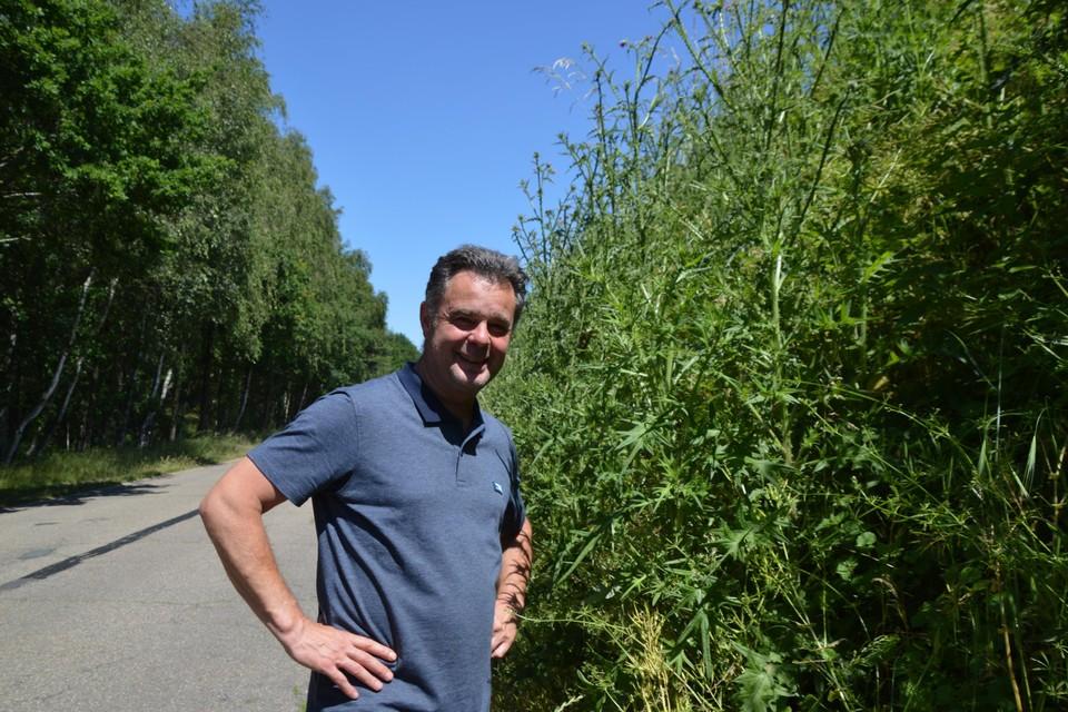 Dimitri Hermans, die in de Boshuisweg in Zandhoven woont, naast de bufferwal vol metershoge distels. Het is een echte jungle.