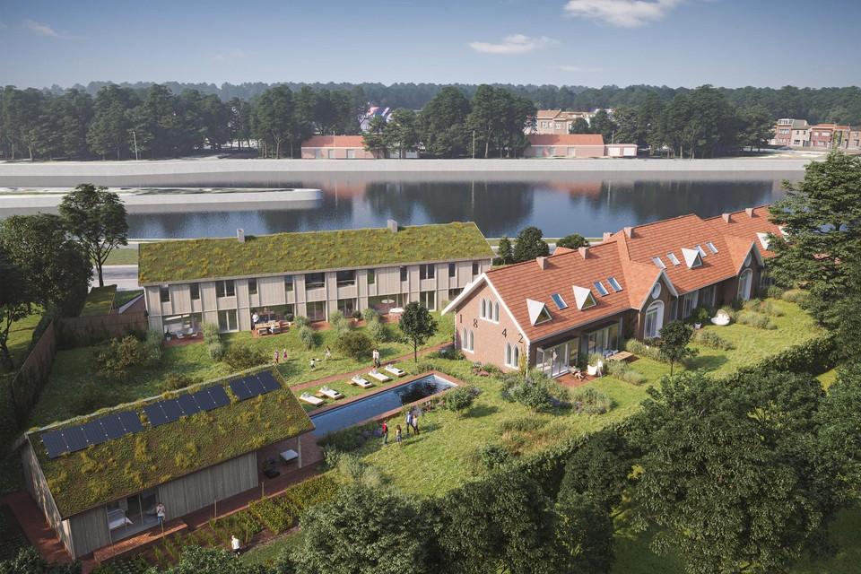 Impressie van hoe de Molenhoeve na restauratie en herinrichting en uitbreiding door HEEM zal verrijzen als cohousingproject Kadans.