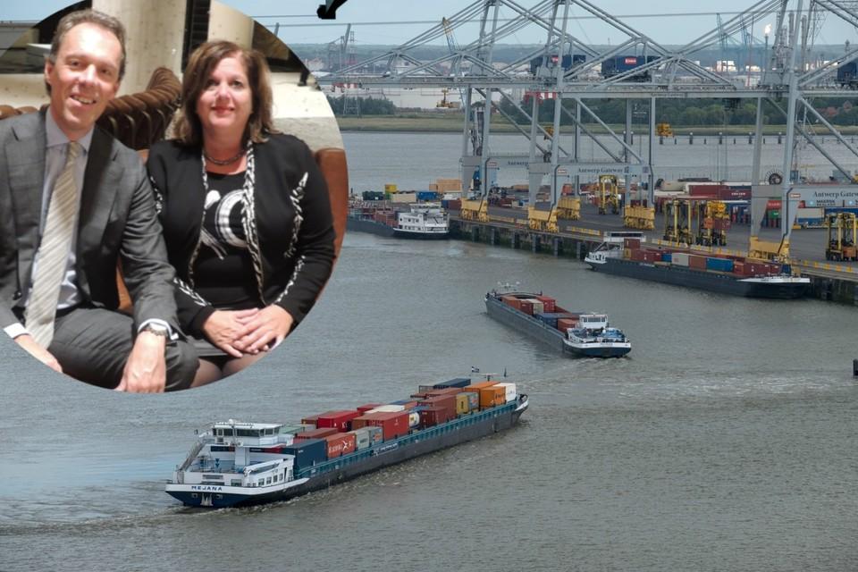 Jacques Vandermeiren, ceo van de Antwerpse haven, met zijn Canadese collega Sylvie Vachon.