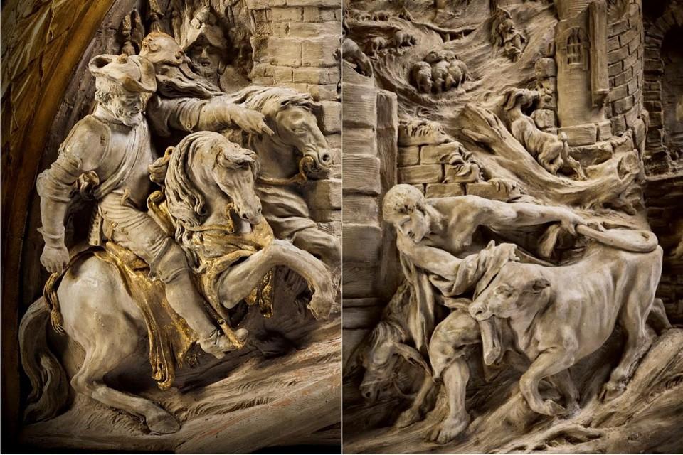 De bozzetti zijn het werk van de Mechelse beeldhouwer Lucas Faydherbe.