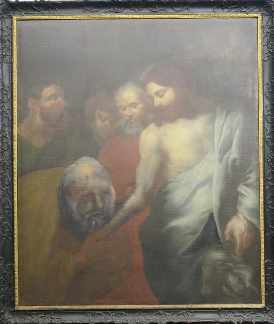 De ongelovige Thomas - althans zo werd gedacht - met het mismeesterd hoofd. Let ook op de misvormde onderarm van Christus. Van sleutels is hier geen sprake. Foto rr