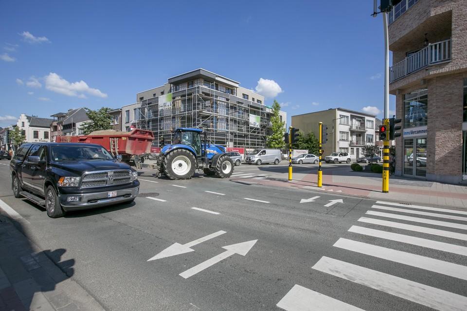 Archiefbeeld: het kruispunt van de Mechelbaan (N15) met de Leuvensebaan.