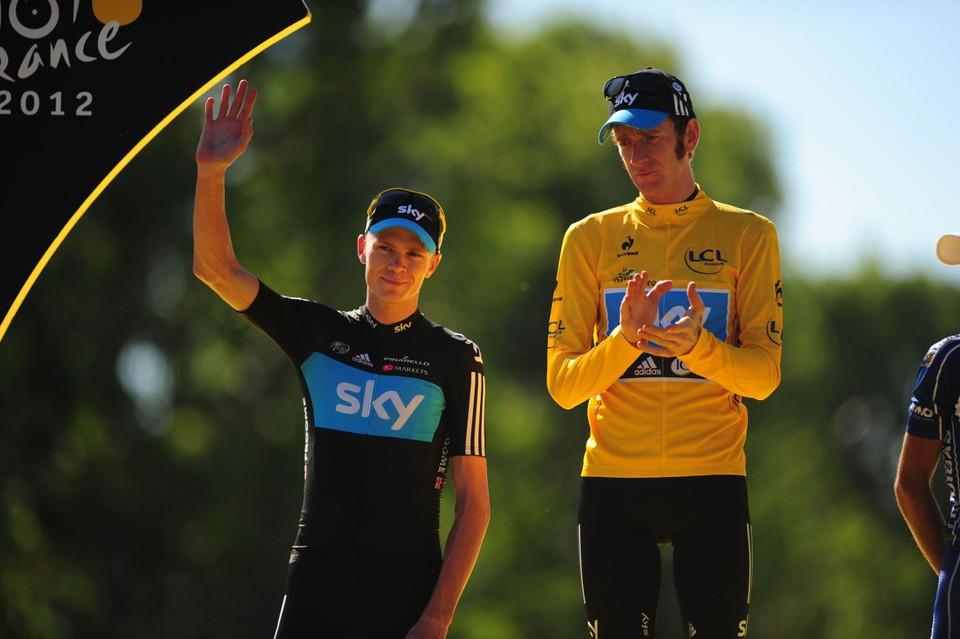 Wiggins en Froome mochten allebei het podium op in Parijs in 2012