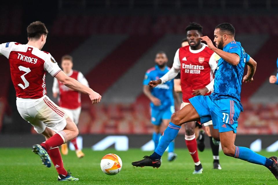 Youssef El Arabi op 18 maart tegen Arsenal, toen Olympiacos met 0-1 won in Londen. Thuis had het wel met 1-3 verloren.