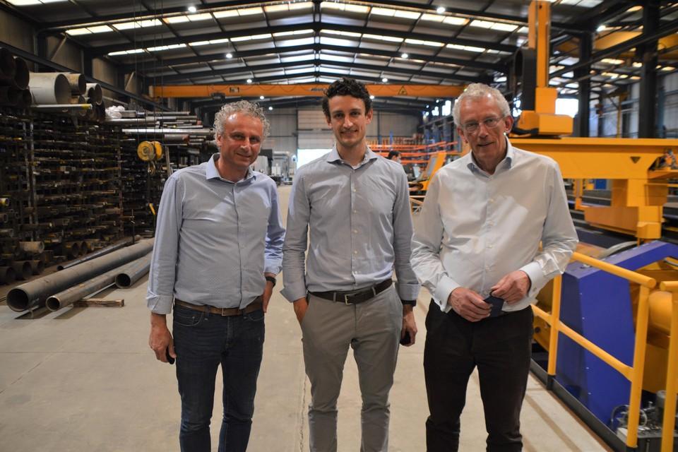 Vincent, William en Pierre Struyf in de werkplaats in Oelegem (Ranst).