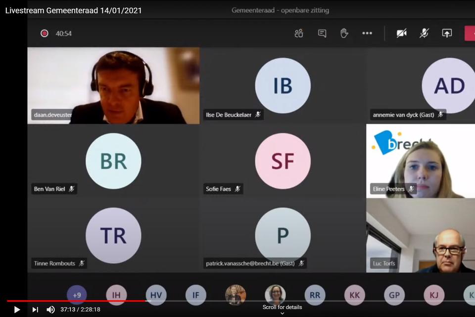 De gemeenteraad van 14 januari 2021 is voor het eerst live gestreamd via YouTube.