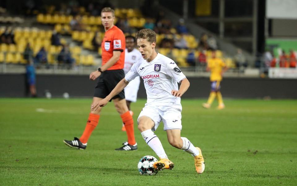 Yari Verschaeren tijdens de wedstrijd tegen Waasland-Beveren afgelopen weekend.