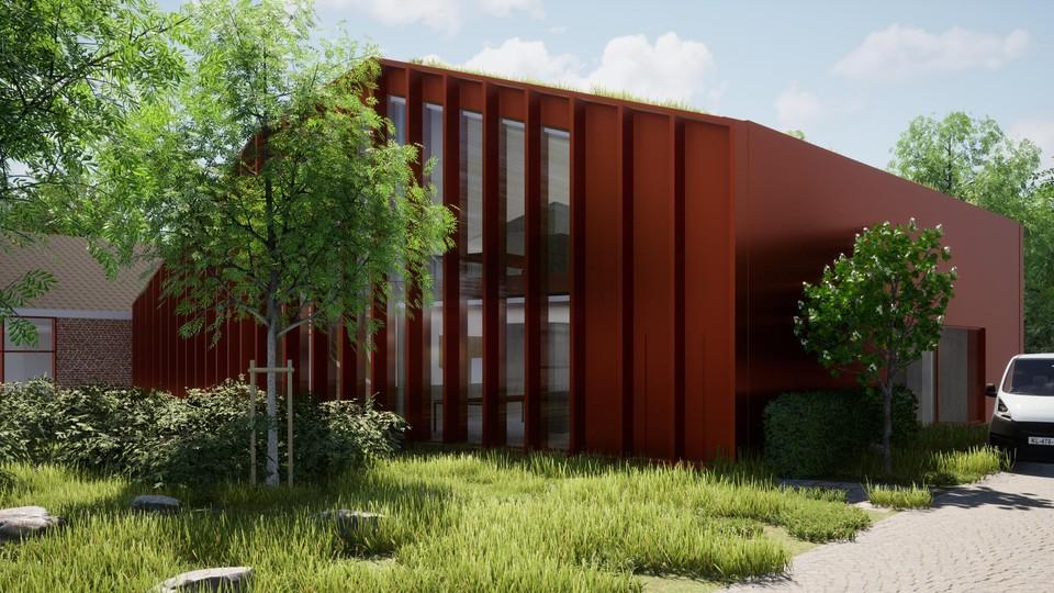 Impressie van hoe het nieuwe CPI-kantoorgebouw in een hedendaagse architectuur er na afwerking zal uitzien.