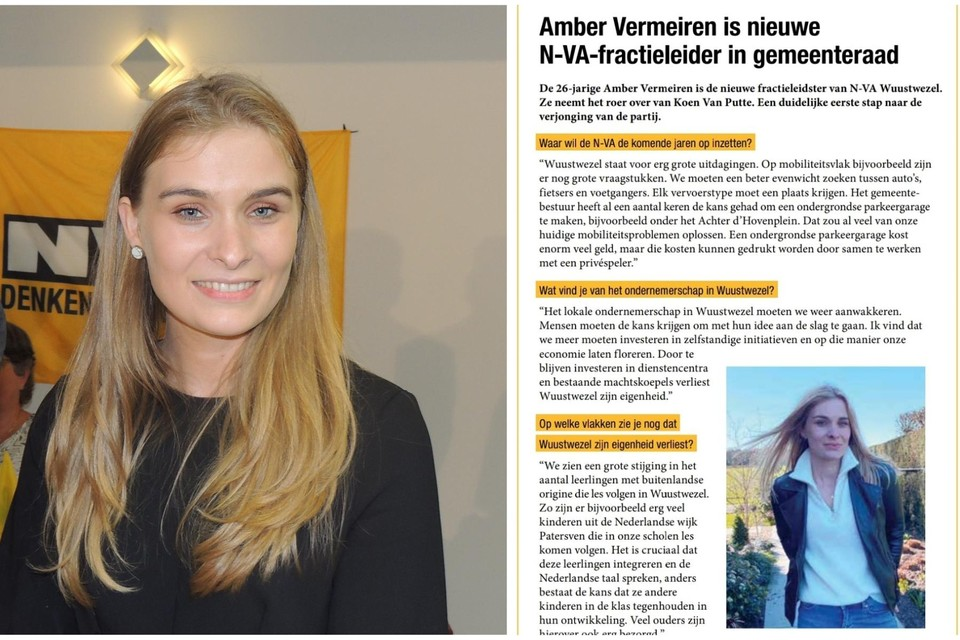 Met haar uitspraken in het lokale N-VA-blad heeft gemeenteraadslid Amber Vermeiren voor wat deining gezorgd.
