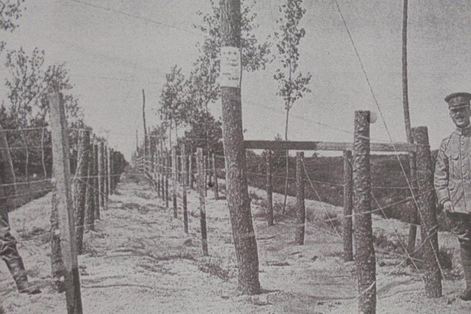 Drie evenwijdige elektrische draadversperringen aan de grens in Baarle-Hertog. Een Nederlandse en Duitse militair staan op wacht.