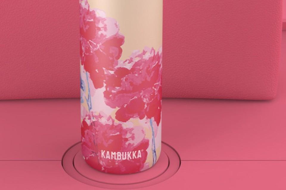 Duurzame waterfles met bloemen, Kambukka, 34,90 euro (onder meer bij A.S. Adventure)