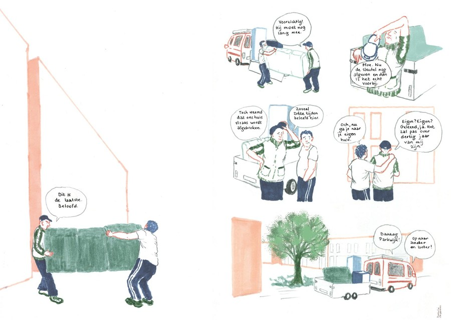 Een fragment uit de stripreportage van Nathalie Carpentier.