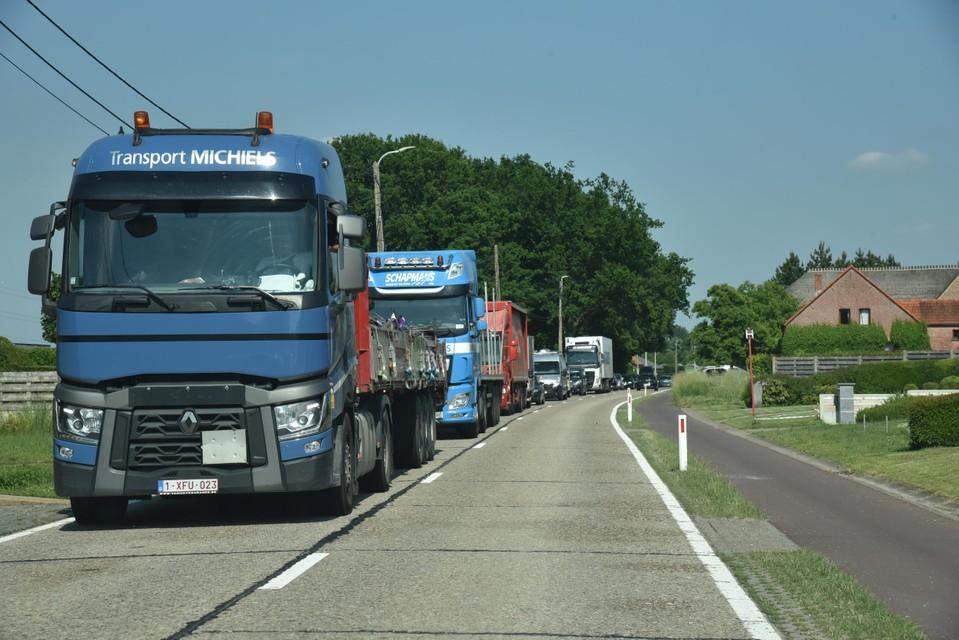 File op de Herentalsebaan richting Lammerenberg.