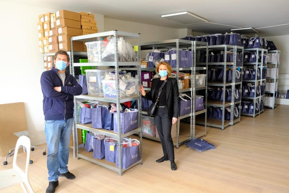 Steven Teughels en Veronique Van Malder bij de stock van Corifeo.