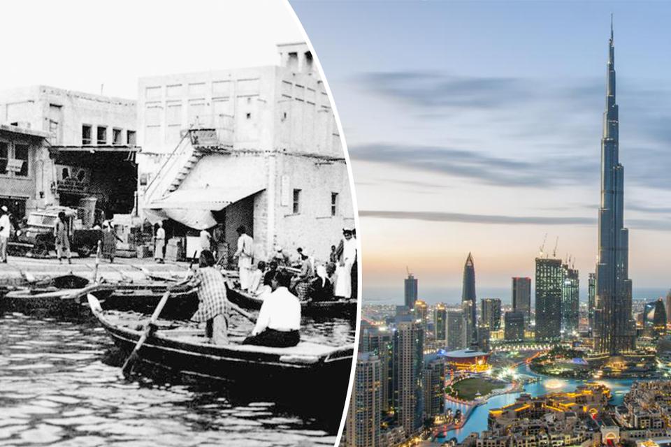 Links. Parelvissers meren aan in de haven van Dubai. Rechts: Dubai vandaag, een hypermoderne wereldstad.