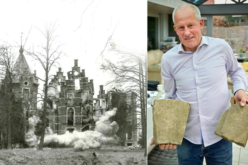 Links: het opblazen van het kasteel in Pulle door het Belgisch leger in maart 1946. Rechts: Leo Denolf bewaart nog oude stenen en massa's documentatie van het opgeblazen kasteel.