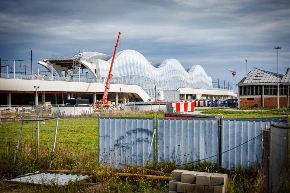 Het station van Mechelen in aanbouw. Ook het Speelgoedmuseum krijgt een plaats in het station.