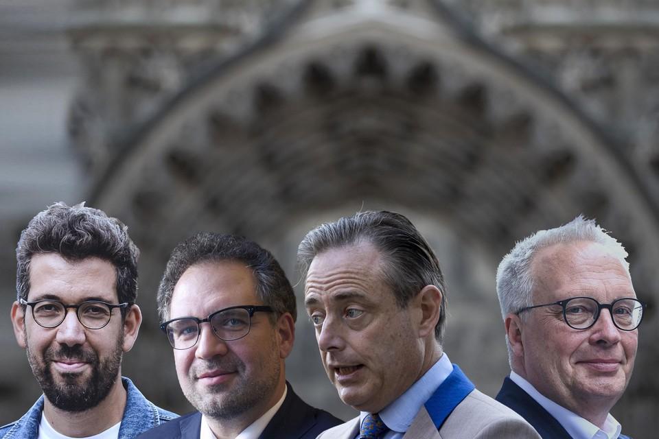 Imade Annouri, Koen Kennis, Bart De Wever en Peter Mertens.