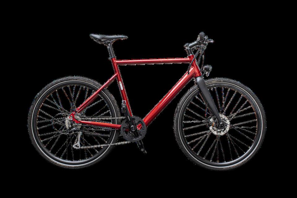 De BZEN Milano, mooie rode kleur, 16 kg en met steun vanuit het achterwiel. Een ideale partner voor woonwerkverkeer.