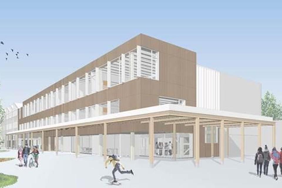 Hasa Architecten uit Muizen ontwierp een slank gebouw waarbij er aan één zijde gestreefd werd naar zo veel mogelijk lichtinval.