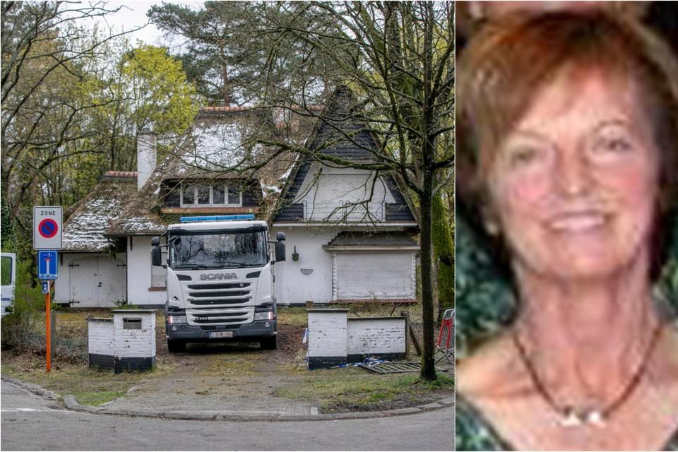 Links: de civiele bescherming kwam ter plaatse om schermen rond de woning te plaatsen zodat niemand een glimp van de reconstructie kon opvangen. Rechts: slachtoffer Christine Verbeiren.