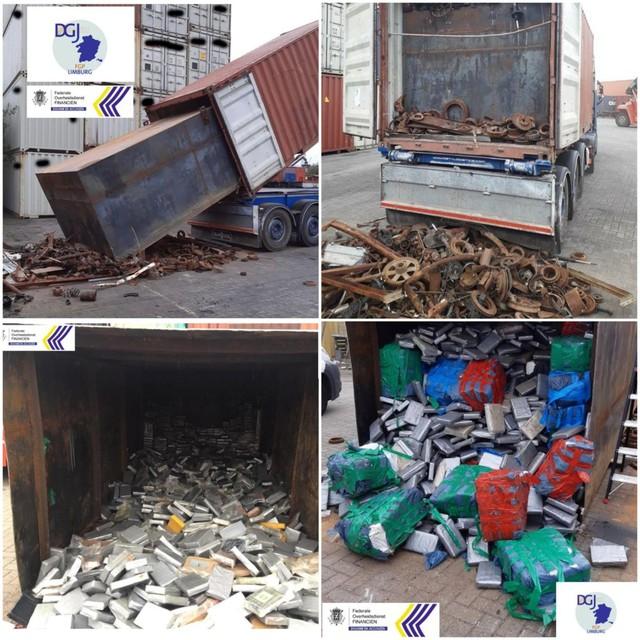 De drugs zaten in een stalen container die in een zeecontainer geduwd werd.
