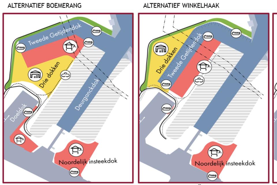 Deze schets toont enkele mogelijkheden voor het geplande nieuwe getijdendok op de linkeroever.