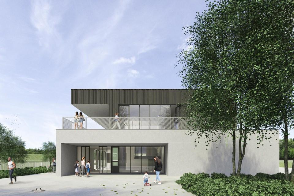 Het eerste ontwerp gaat uit van een gebouw met twee verdiepingen.