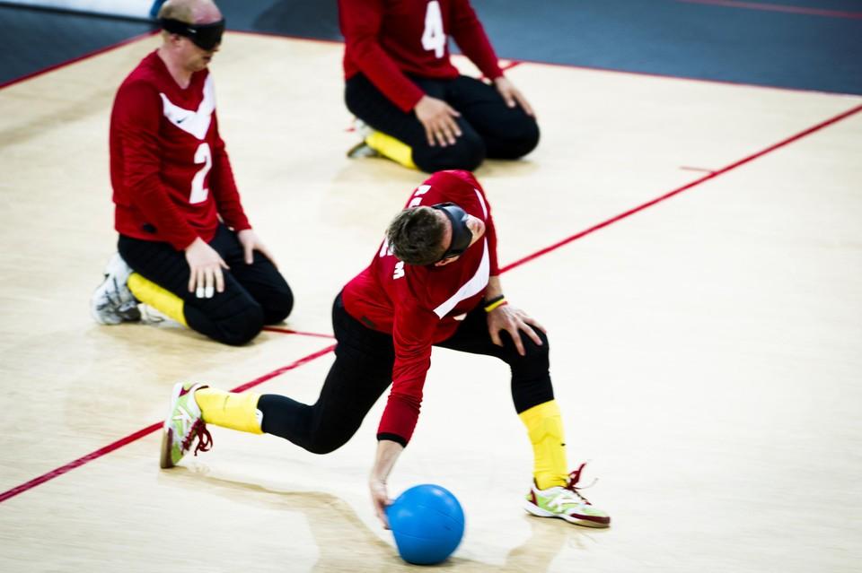 Actiebeeld van tijdens het goalball