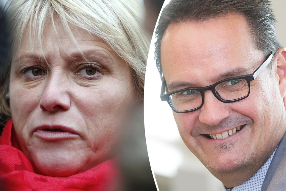 """Unizo-topman Danny Van Assche (rechts) is """"opgelucht"""" dat er een akkoord is, maar vakbondsvrouw Miranda Ulens (links) is helemaal niet tevreden met de gesloten deal."""