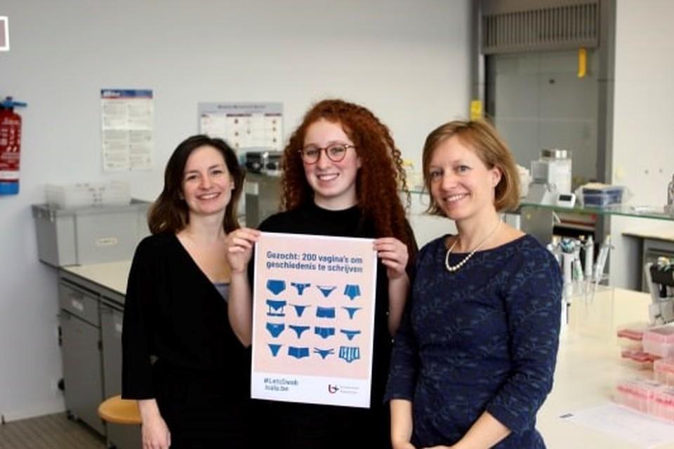 Professor Sarah Lebeer (uiterst rechts) met onderzoeksters Eline Oerlemans en Sarah Ahannach.