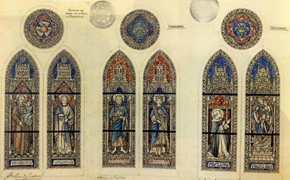 Dankzij de originele ontwerpen kon men de glasramen restaureren