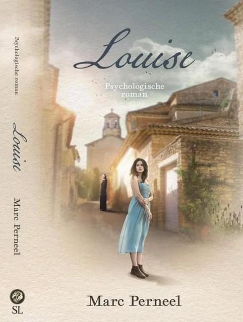 De cover, met Louise en op de achtergrond de kerk van Joucas (F)