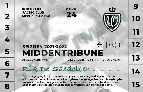 Een abonnement met de beeltenis van Rik De Saedeleer.