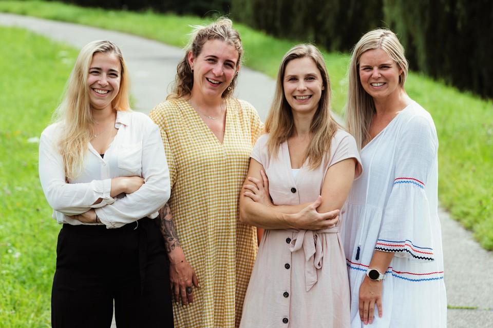 Het team van Praktijk aan de Dijle met Marie Caby, Sabrina Van Aken, Alexandra Owens en Julie Cools.