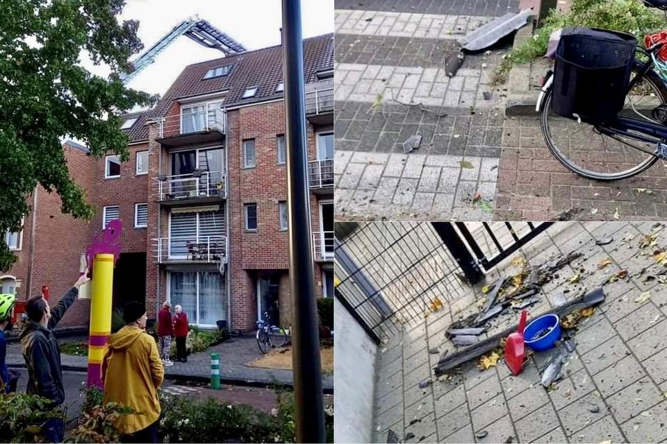 De mini-windhoos zorgde voor aardig wat schade in de Lakenmakersstraat.
