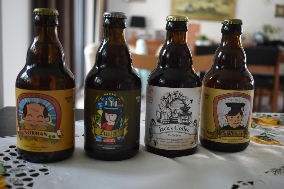 De vier bieren in het assortiment van NoordSter: Norman, Lusja, Jack's Coffee en Wijze Gijs.