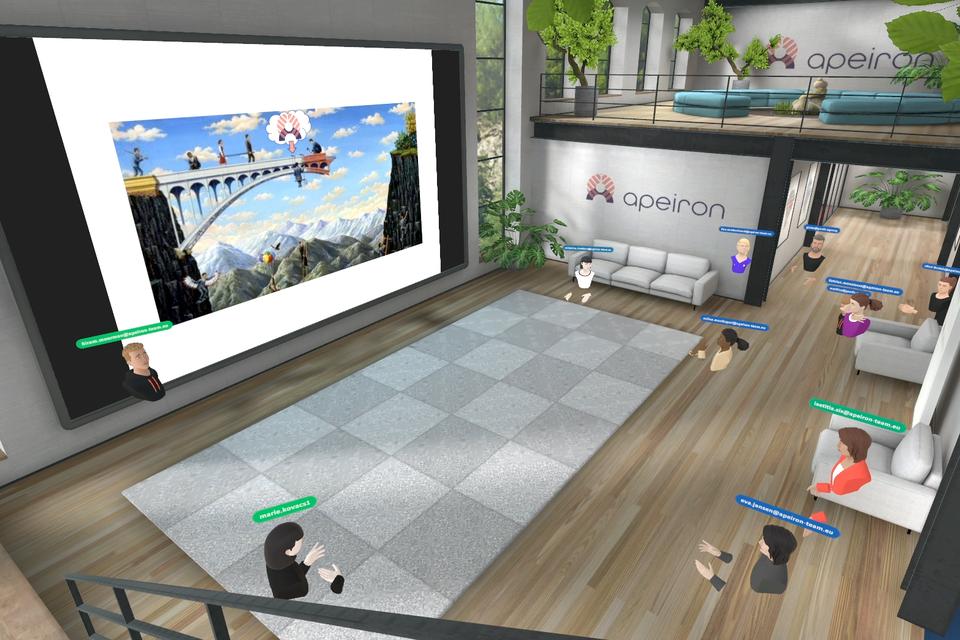 De virtuele omgeving waar de medewerkers van het Mortselse bedrijf vergaderen is ook vormgegeven in de stijl van het bedrijf.