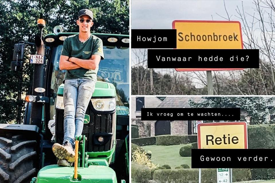 Wanneer grondwerker Yenthe Hofkens met zijn tractor op de baan is, verzint hij geinige woordgrapjes op z'n Kempens bij borden langs de weg.