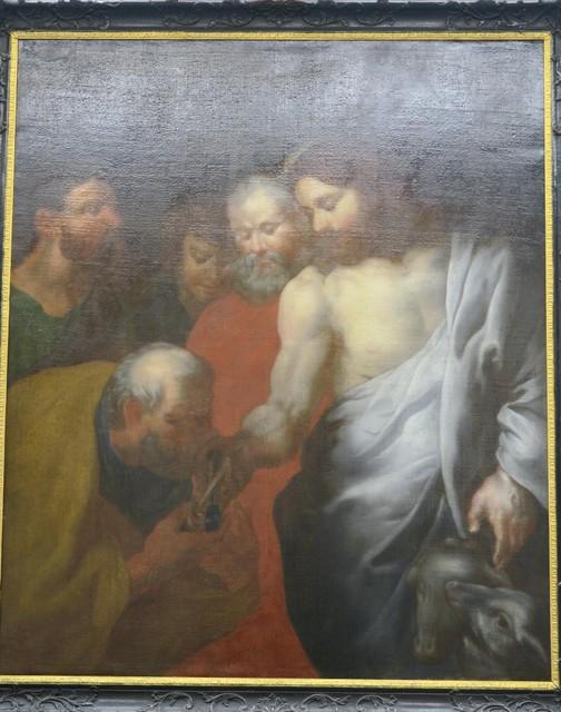 Het schilderij na restauratie. Thomas is nu Petrus, krijgt de sleutels van het Koninkrijk uit handen van Christus, die opnieuw een onderarm heeft in juist verhouding met zijn bovenarm.