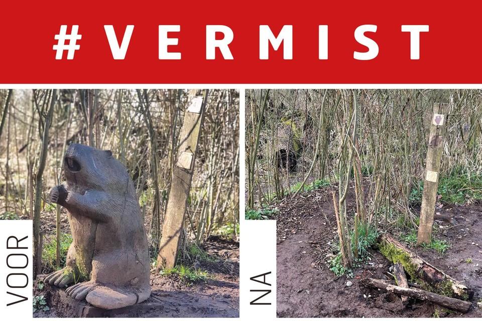 Een vrijwilliger merkte op dat het exemplaar van Bernard de Bever aan de wilgentunnel verdwenen was.
