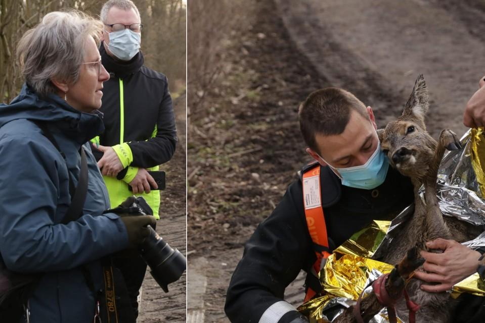 Fotografe Veerle (links) was op wandel in de polder toen ze het verzwakte diertje opmerkte.