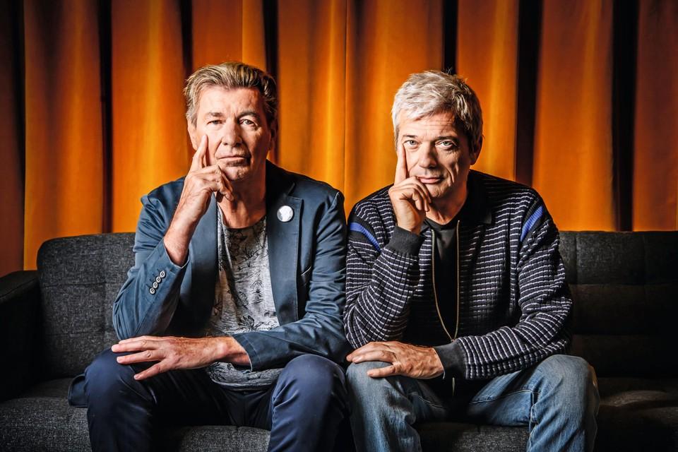 """Het heilige vuur brandt nog bij Paul Michiels (links) en Jan Leyers: """"Onze lat ligt hoog, en als we die niet halen, dan helpen die hits van dertig jaar geleden echt niet.""""."""
