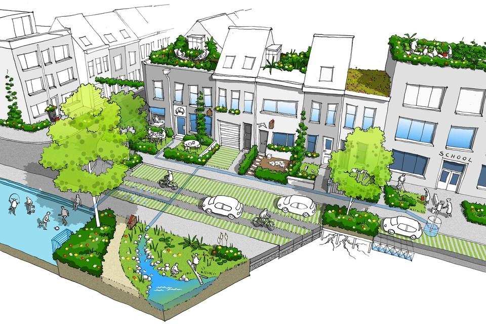 Een impressie van hoe een tuinstraat er zal moeten uitzien.
