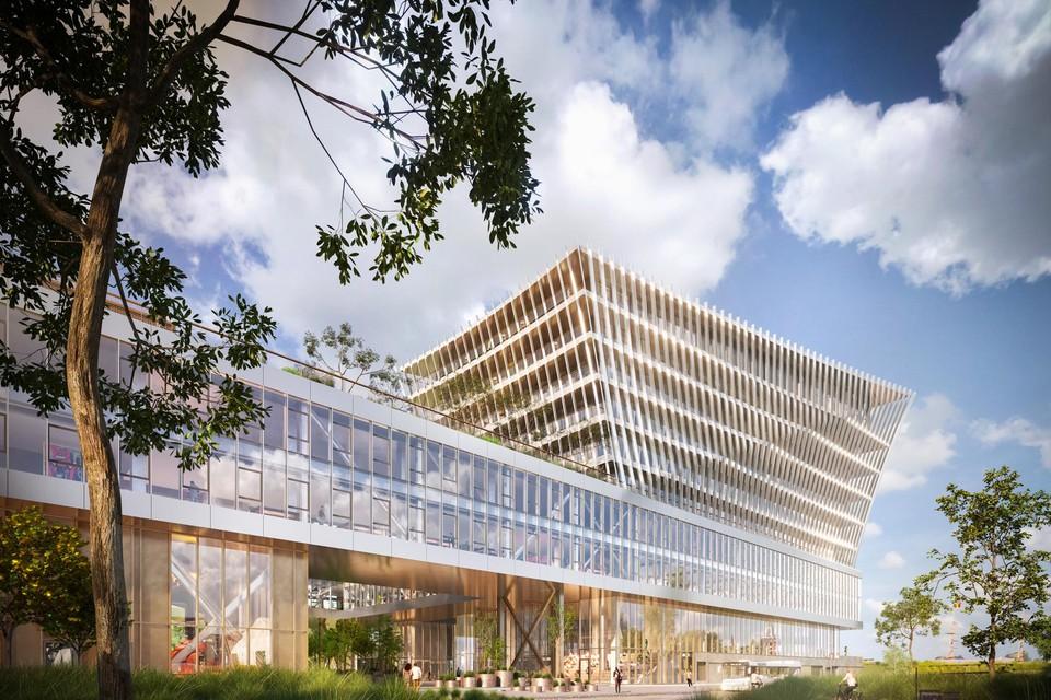 Zo zal het hoofdgebouw van de Maritieme Campus Antwerpen eruitzien.
