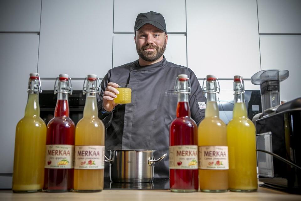 Gert Van der Borght bij zijn limonades van Merkaa.